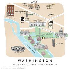 Cute Illustrated Map of Washington DC