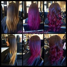 Before and afters! Ombré balayage and long layer haircut. Purple pink plum!