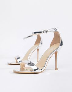 41107351f Glamorous Silver Mirror Barely There Heeled Sandal