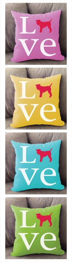 Schnauzer Love pillow. Offered in multiple colors and 50+ dog breeds. Cover is machine washable and Made in USA.