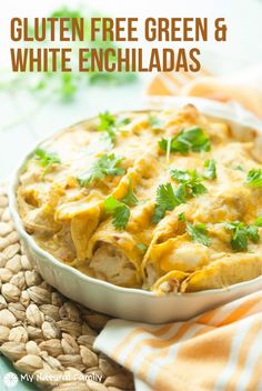 This recipe has hearty chicken, cream cheese and other savory ingredients rolled in gluten free tortillas to make flavorful Gluten Free Chicken Enchiladas.