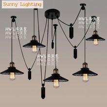 5/6 nogi nowość pająk bar lampa loft retro przemysłowe amerykańska światła koło pasowe podnoszenia windy wisiorek światła lampa wisząca(China (Mainland))