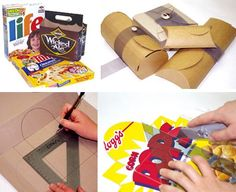 DIY Templates for Boxes from Cereal Boxes and Cardboard. Lots of templates at Planetpals here.