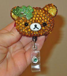 St. Patrick's Day Bling Rilakkuma Id Badge Retractable Reel Holder  | evezbeadz - Accessories on ArtFire