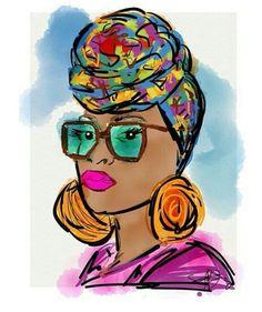 ***Try Hair Trigger Growth Elixir*** ========================= {Grow Lust Worthy… Black Girl Art, Black Women Art, Art Girl, African American Artwork, African Art, Natural Hair Art, Black Artwork, Illustration, Turbans