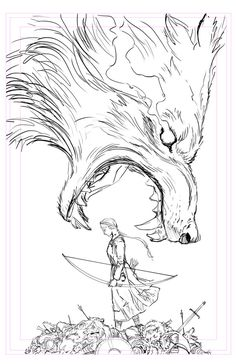wolf. Little Red Riding Hood. illustration. bow and arrow. art.