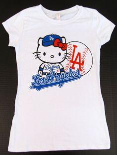 HELLO KITTY LA DODGERS T-shirt Los Angeles Anime Cat JUNIORS Tee S,M,L,XL White