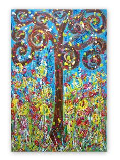 Happy Tree and Flowers  Abstract Acrylic by HeatherMontgomeryArt, $175.00