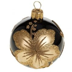 Hand-painted gold hibiscus on a black ornament