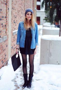Schwarzes kleid jeanshemd