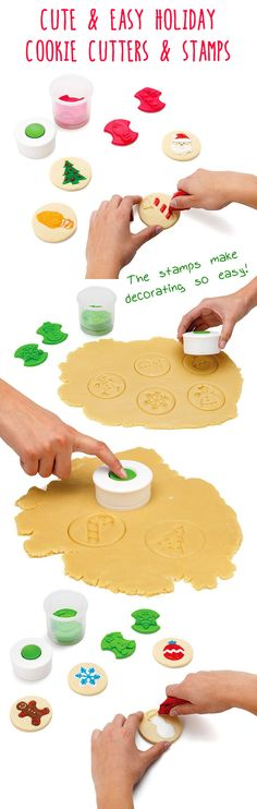 Holiday Cookie Cutters and Stamps - interchangeable designs make your cookies… Easy Holiday Cookies, Holiday Treats, Christmas Cookies, Holiday Recipes, Christmas Baby, All Things Christmas, Christmas Holidays, Christmas Crafts, Christmas Ideas