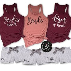 Bridesmaid Pajamas Short Set, Bridesmaid Thank You Gift, Bridesmaid Tank Tops, Bachelorette Party, Bridesmaid pjs – Johanna Meyer Bridal Party Pajamas, Bridal Party Shirts, Bachelorette Party Shirts, Wedding Shirts, Bachelorette Weekend, Wedding Outfits, Bridesmaid Tank Tops, Bridesmaid Pyjamas, Bridesmaid Thank You