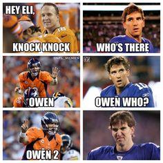 Peyton Manning is the best Manning. Fact. Football Jokes, Nfl Football, Manning Football, Football Stuff, Denver Broncos Football, Eli Manning Meme, Broncos Fans, Best Football Team, Peyton Manning
