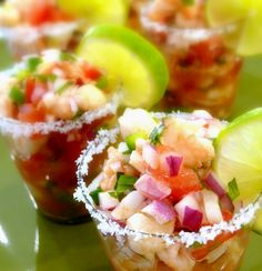 Ceviche - shrimp and scallops in a lemon-lime sauce. And it looks beautiful! I can't wait for summer to try this.