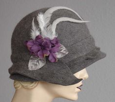 Grey Heather Wool Felt Cloche Hat.
