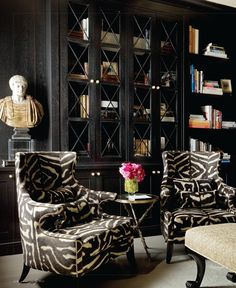 Black Lacquer Walls, and Zebra Upholstery, via Rooney Robison Antiques.