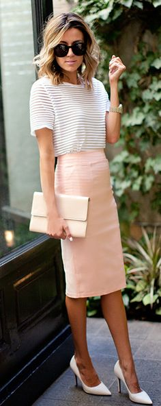 pencil skirt & stripe top