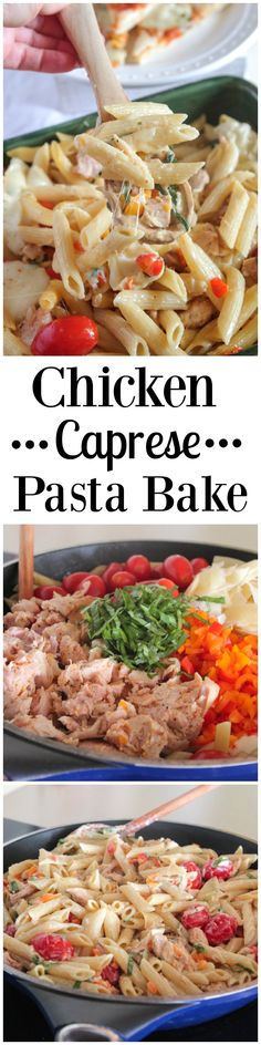 Chicken Caprese Pasta Bake, perfect weeknight dinner for pizza and pasta night! #spon #weeknightdinner #recipe #pasta