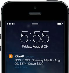 """When something the user is interested in is changing.  """"By allowing users to set up flight price notifications, Kayak can then send notifications the moment the price drops. It's (…) essentially a flash sale disguised as breaking news. They understand the value users find in getting the best deals on flights as soon as possible. That's why they can get away with sending it at 5:55 am."""""""