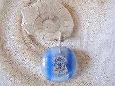 Mermaid jewelry - Blue Sand Spiral Pendant Blue and White Lake by LupinePrairieGlass
