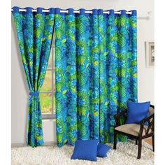 Swayam Blue And Green Printed Eyelet Curtain - If you are seeking quality curtains online, you will do well to check out this printed eyelet curtain. This is made of 100% cotton and comes in an alluring combination of green and blue which goes well with the refreshingly floral pattern. This eyelet curtain will be a great buy for any classy home.Note: Please note that the product is being sold as a single/1 piece only. The image shown is for representational purpose only.