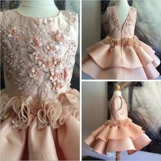 Luxurious Lace Arabic 2016 Flower Girl Dresses Knee Length Girl Birthday Party…