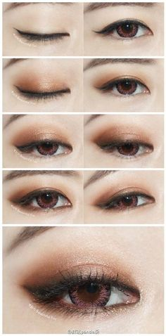 sexy eye japanische Augen Make-up koreanisch asiatisch Eye Makeup eye makeup japanese style Makeup Korean Style, Korean Makeup Tips, Asian Eye Makeup, Korean Makeup Tutorials, Smokey Eye Makeup, Makeup Eyeshadow, Makeup Style, Asian Style, Brown Makeup