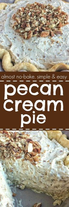 Pecan Cream Pie - a flaky, tender pie crust filled with a thick & creamy pecan mixture. This whipped cream pie is a delicious Fall twist to a traditional cream pie recipe and makes for an excellent Thanksgiving dessert pie. Maple Cream Pie Recipe, Cream Pie Recipes, Pecan Recipes, Tart Recipes, Sweet Recipes, Cooking Recipes, Cheesecake Recipes, Weight Watcher Desserts, Köstliche Desserts