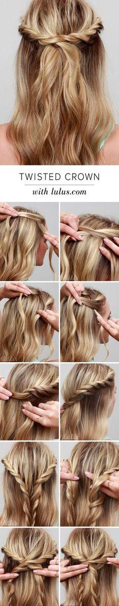 LuLu*s How-To: Twisted Crown Hair Tutorial at LuLus.com! neue Idee: viele übereinander gereiht, als Dutt zusammen.