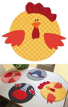 inspiration only (pattern available at keepsake quilting), cute placemats! Fabric Crafts, Sewing Crafts, Diy Crafts, Applique Patterns, Quilt Patterns, Quilting Projects, Sewing Projects, Chicken Quilt, Chicken Crafts