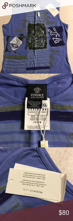 Authentic Versace Top Blue / Purple authentic Versace Top. Never worn, brand new with tags!! Versace Jeans Collection Tops Tank Tops