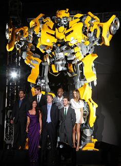 """(1st row L to R) Actress Megan Fox, Director Michael Bay, actor Shia LaBeouf, (2nd row L to R) actors Ramon Rodriguez, Josh Duhamel,Tyrese Gibson and actress Isabel Lucas attend the """"Transformers: Revenge of the Fallen"""" World Premiere in Tokyo, Japan. 2009"""