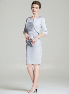 Sheath/Column Scoop Neck Knee-Length Satin Mother of the Bride Dress With Ruffle Appliques Lace Split Front (008072694)