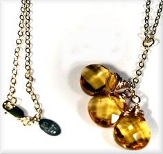 genuine, gorgeous, faceted Citrine briolette gemstones...