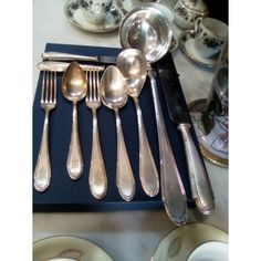 Measuring Spoons, Antique Silver, Silver Plate, Plating, Antiques, Antiquities, Antique, Silverware Tray, Old Stuff