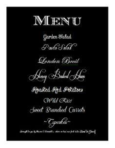 Custom Designed Dinner Menu Signage by RSVP by Cynthia