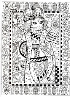 Cat King Of Hearts Coloring Page