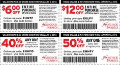 Pinned January 2nd: 50% off a single item at Hancock #Fabrics or online via promo code ENHFY #coupon via The #Coupons App