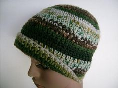 Green and Brown Crocheted Jacquard Print Beanie by customcrochet, $16.00 USD