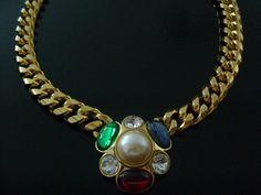 Vintage MONET Golden Jewel Rich Goldtone Bold Chunky Necklace