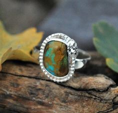 Turquoise Ring  Sterling Silver Ring  by EarthsBountyGems on Etsy