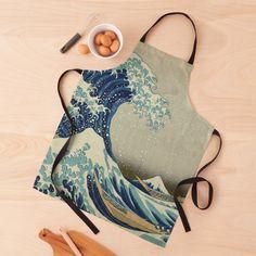 """The Classic Japanese Great Wave off Kanagawa by Hokusai"" Apron by podartist   Redbubble Japanese Waves, Japanese Art, Rogue Wave, Great Wave Off Kanagawa, Katsushika Hokusai, Apron Designs, Mount Fuji, Vintage Wall Art, Woodblock Print"