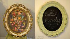 Ornate picture transformed into chalkboard