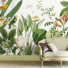 Diy wall decor 515028907387788686 - Birds of Paradise Tropical Wall Mural Source by Wall Painting Decor, Mural Wall Art, Diy Wall Decor, Wall Painting Flowers, Wall Paintings, Home Decor, Diy Wand, Flower Mural, Flower Wall