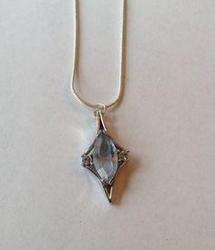 Necklace Pendant Vintage Aquamarine Rhinestone by EmbracetheEarth, $14.00