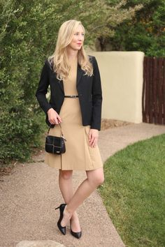 women's business casual outfit that is fashion blog worthy and office appropriate for a professional woman.  Pleated camel dress, black blazer, Calvin Klein pumps