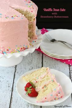 Vanilla Bean Cake with Strawberry Buttercream - moist decadent vanilla bean cake with sweet strawberry buttercream frosting! #recipe #cake #birthday