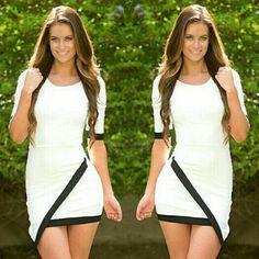 2015 Women Summer Casual Dress Bandage Bodycon Half Sleeve Ladies Asymmetric Patchwork  Work Wear Skirt  vestidos femininos Hot http://cristinebennett.com/product/98/2015-women-summer-casual-dress-bandage-bodycon-half-sleeve-ladies-asymmetric-patchwork-work-wear-skirt-vestidos-femininos-hot