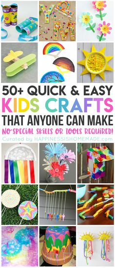 These 50 quick and easy kids crafts can be made in under 30 minutes using items that you probably already have around the house! No special tools or skills are required, so ANYONE can make these cute crafts for kids! Great fun for the entire family! Quick And Easy Crafts, Easy Arts And Crafts, Easy Diy Crafts, Cute Crafts, Crafts Cheap, Toddler Arts And Crafts, Simple Crafts, Craft Stick Crafts, Creative Crafts