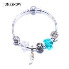 FASHION Women Charm Jewelry  Bracelets Silver plating  blue/whlie transparent Bead Wing pandent charm bracelet ZY1029